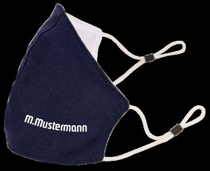 Maske marineblau mit verstellbaren Softgummi Ohrenschlaufen